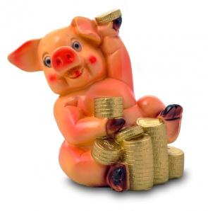 Гипсовая копилка для денег Свинка с монетами