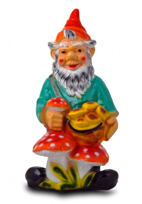 Гипсовая садовая фигурка Гном с грибами