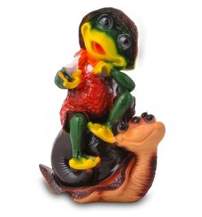 Гипсовая садовая фигурка Лягушка на улитке