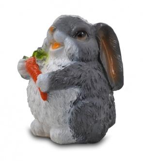 Гипсовая копилка для денег Зайчик с морковкой (малый)