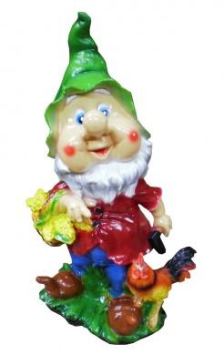 Гипсовая садовая фигурка Гном с корзинкой