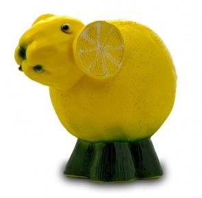 Гипсовая копилка для денег Лимонная овечка