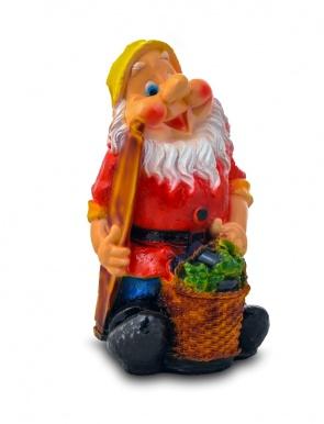 Гипсовая садовая фигурка Гном с баклажанами