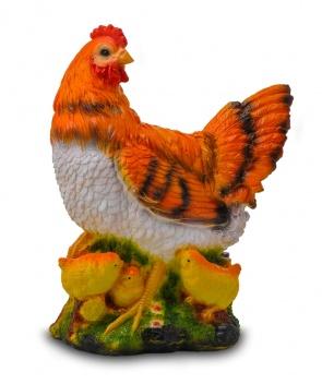 Гипсовая фигура для декора сада и дачи Курица с цыплятами