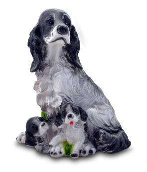 Гипсовая копилка для денег Кокер с щенками
