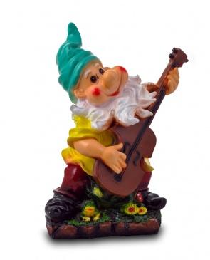 Гипсовая садовая фигурка Гном с гитарой