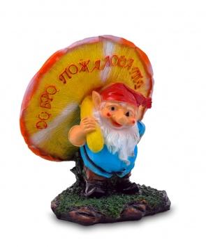 Гипсовая садовая фигурка Гном под мухомором малый