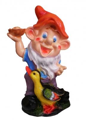 Гипсовая садовая фигурка Гном с уточкой