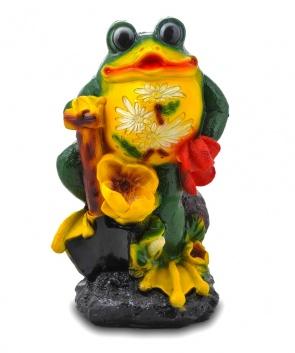 Гипсовая садовая фигурка Лягушка с цветами