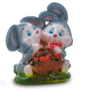 Гипсовая копилка для денег Кролики с клубникой
