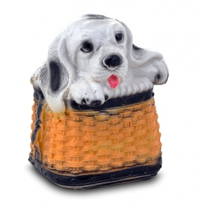 Гипсовая копилка для денег Собака в корзине