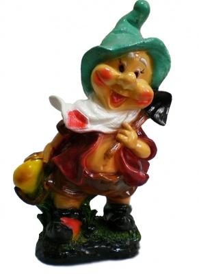 Гипсовая садовая фигурка Гном с фруктами