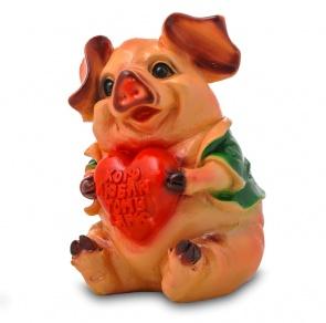 Гипсовая копилка для денег Свинья с сердцем