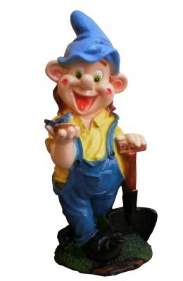 Гипсовая садовая фигурка Гном с лопатой большой