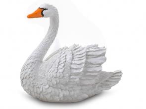 Гипсовая фигура для декора сада и дачи Лебедь (средний) белый