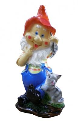 Гипсовая садовая фигурка Гном с котенком