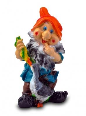 Гипсовая садовая фигурка Гном с гусем
