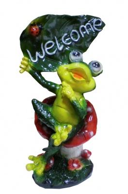 Гипсовая садовая фигурка Лягушка на мухоморе средняя