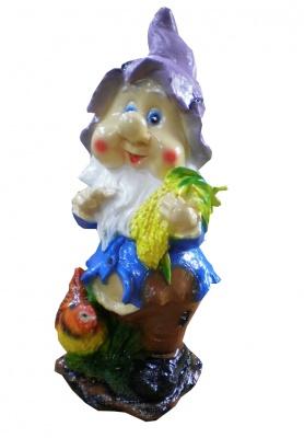 Гипсовая садовая фигурка Гном с курочкой