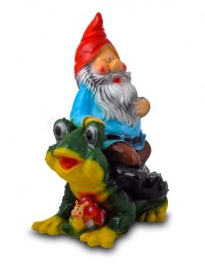 Гипсовая садовая фигурка Гном на Жабе