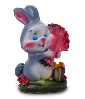 Гипсовая копилка для денег Кролик с букетом роз