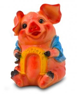 Гипсовая копилка для денег Свинья с подковой