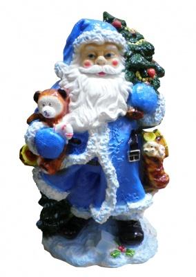 Гипсовая копилка для денег Дед Мороз (синий)