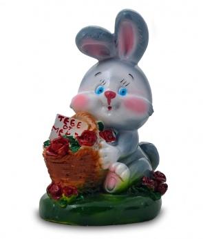 Гипсовая копилка для денег Кролик с корзиной роз