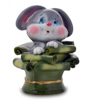 Гипсовая копилка для денег Кролик в денежной корзине