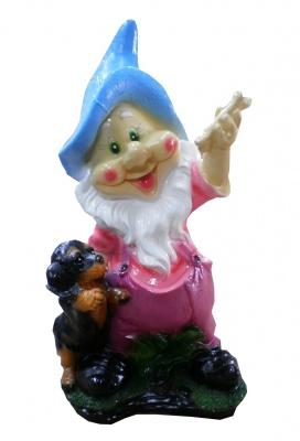 Гипсовая садовая фигурка Гном со щенком