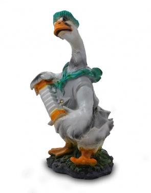 Гипсовая фигура для декора сада и дачи Гусь с гармошкой