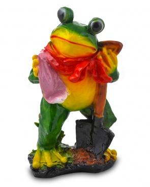 Гипсовая садовая фигурка Лягушка с лопатой и полотенцем