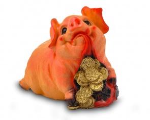 Гипсовая копилка для денег Свинка с мешком монет